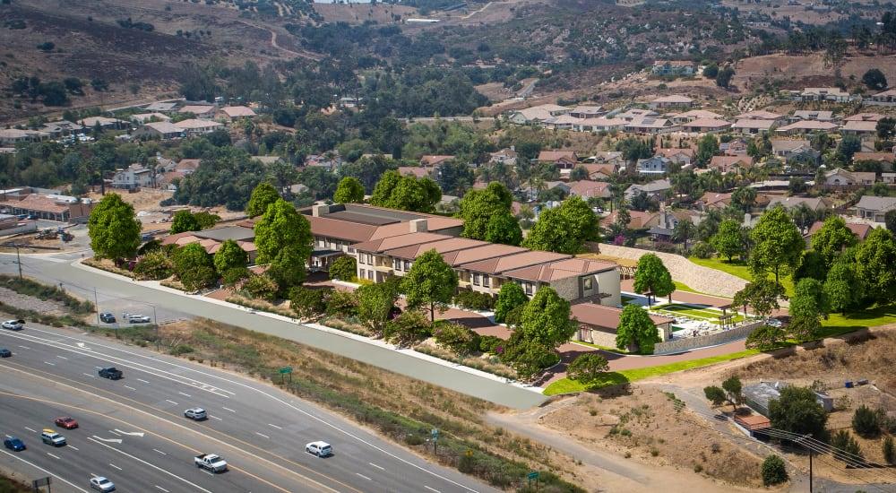 Aerial view of Carefield Living Bonsall in Bonsall, California.