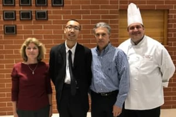 Jerry Zheng receives Arbour Square of Harleysville's 2017 Keith Howe Memorial scholarship in Harleysville, Pennsylvania