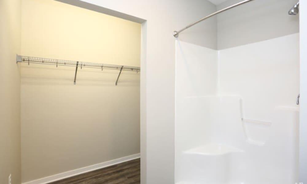 Shower and closet at Johnston Gardens in Johnston, Iowa