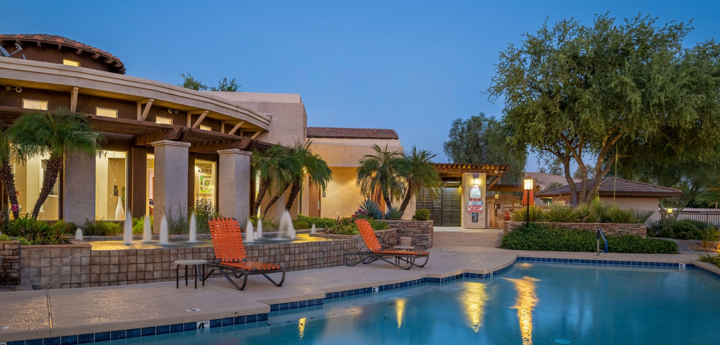 Resort style pool with sun chairs at Azure Creek in Cave Creek Arizona,