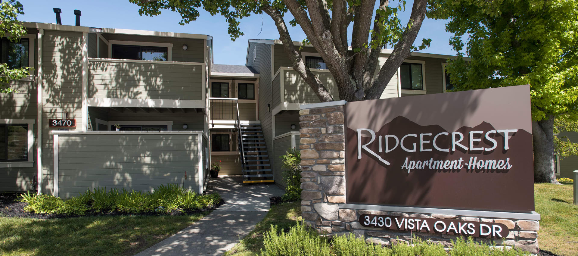 Ridgecrest Apartment Homes signage in Martinez, California