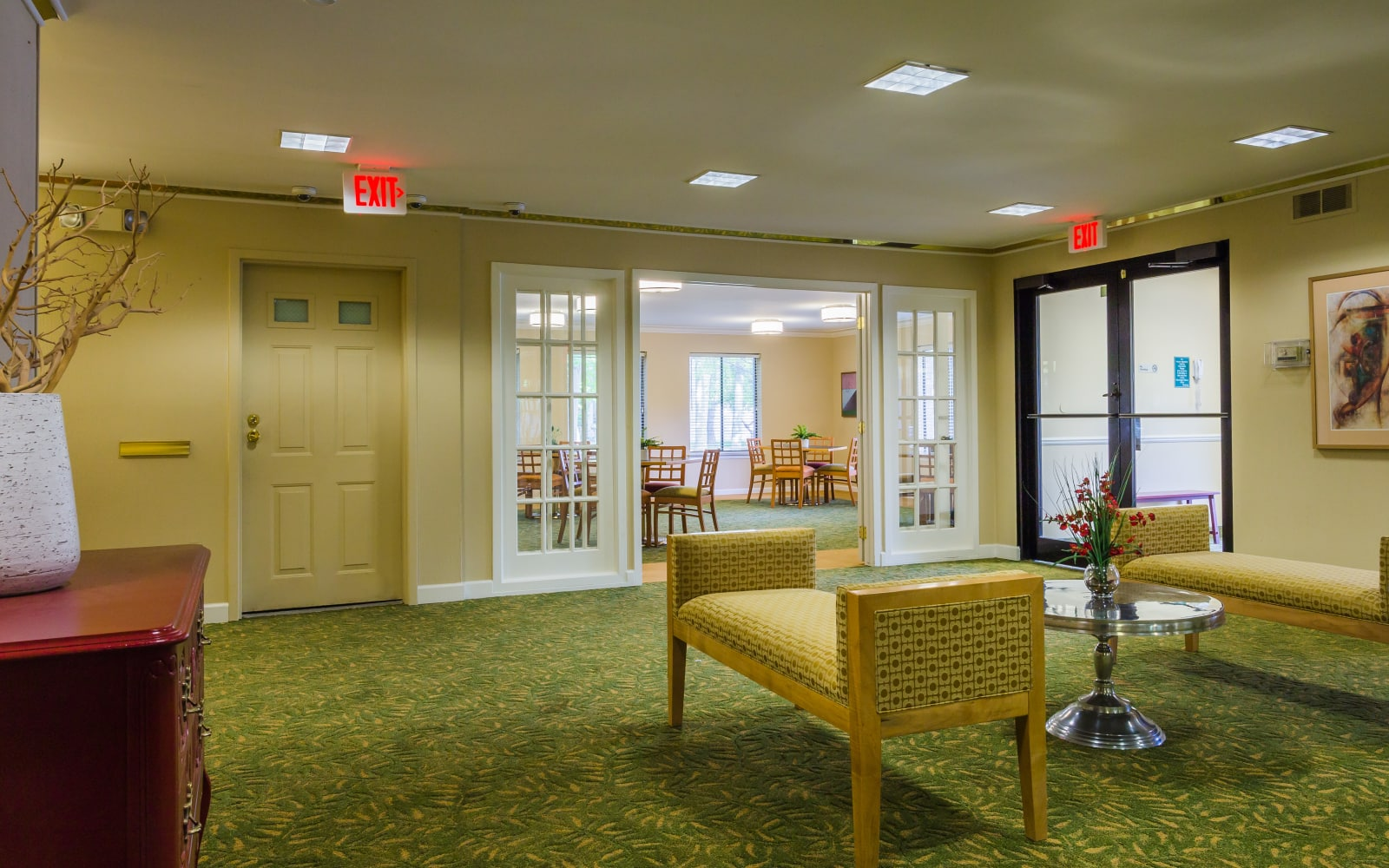 Entrance to clubhouse at Farmington Oaks Apartments in Farmington, Michigan