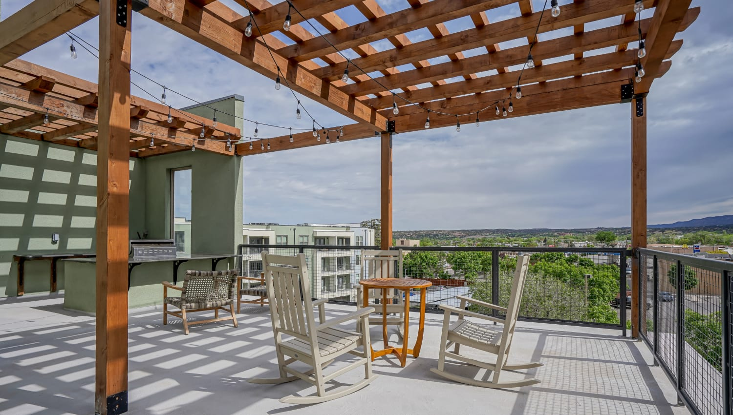 Community deck with beautiful views at  Capitol Flats in Santa Fe, New Mexico