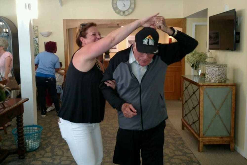 A resident dancing at The Country House in Westchester in Yorktown Heights, New York