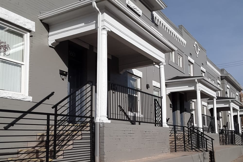 Exterior stairway at Capitol Hill Apartments in Denver, Colorado