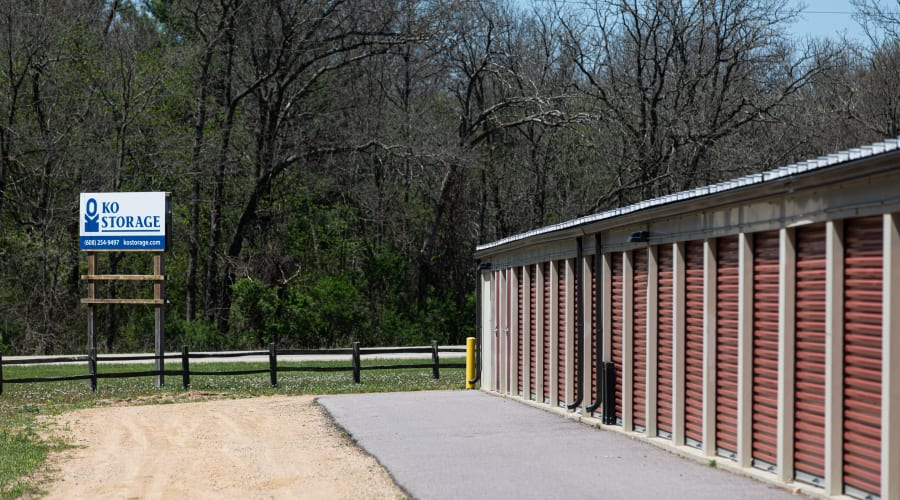 Exterior of outdoor units and signage at KO Storage of Wisconsin Dells - Hwy 13 in Wisconsin Dells, Wisconsin