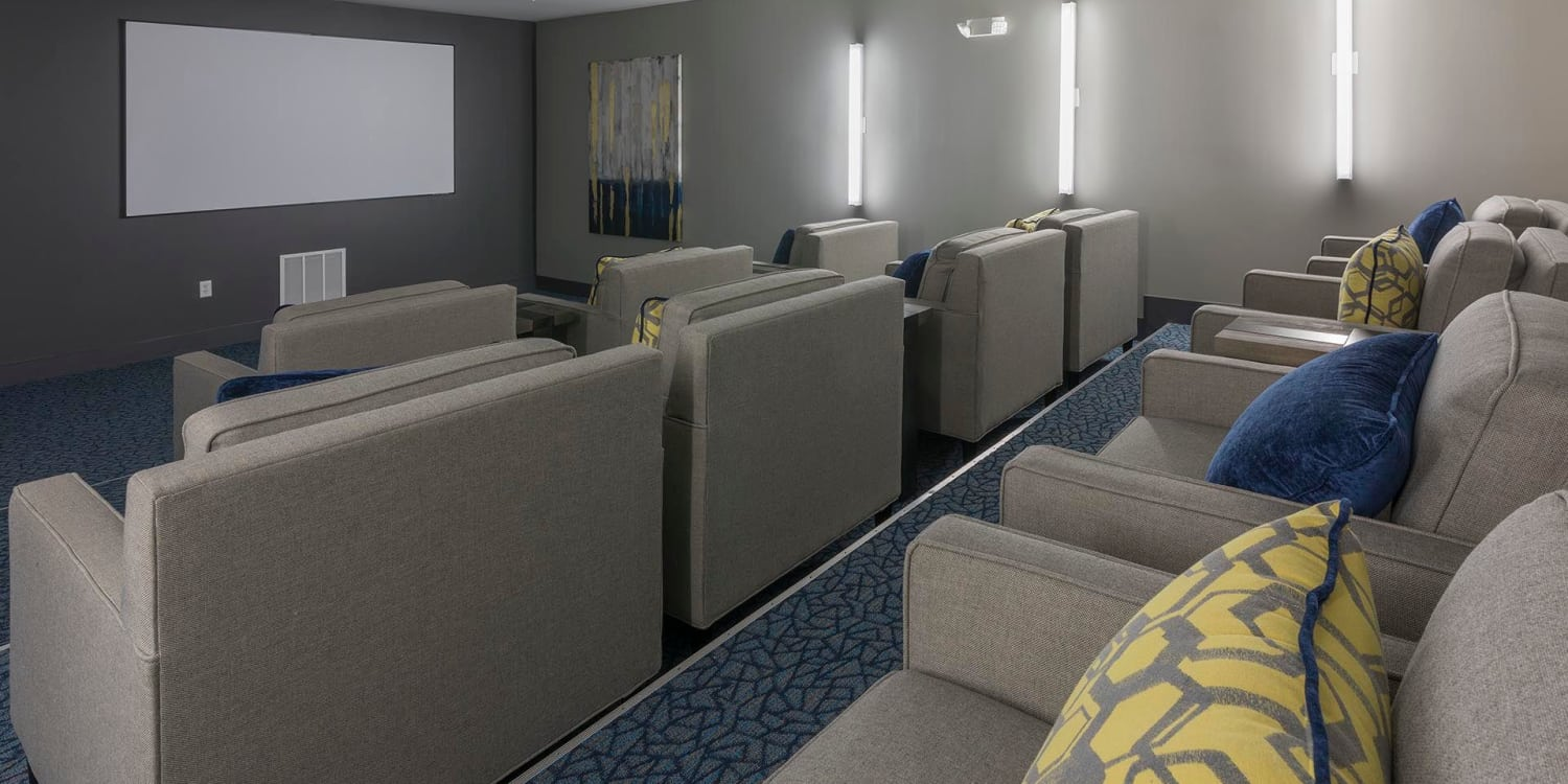 Entertaining large groups? Host a movie night in our on-site theater at Ancora Apartments in Orlando.