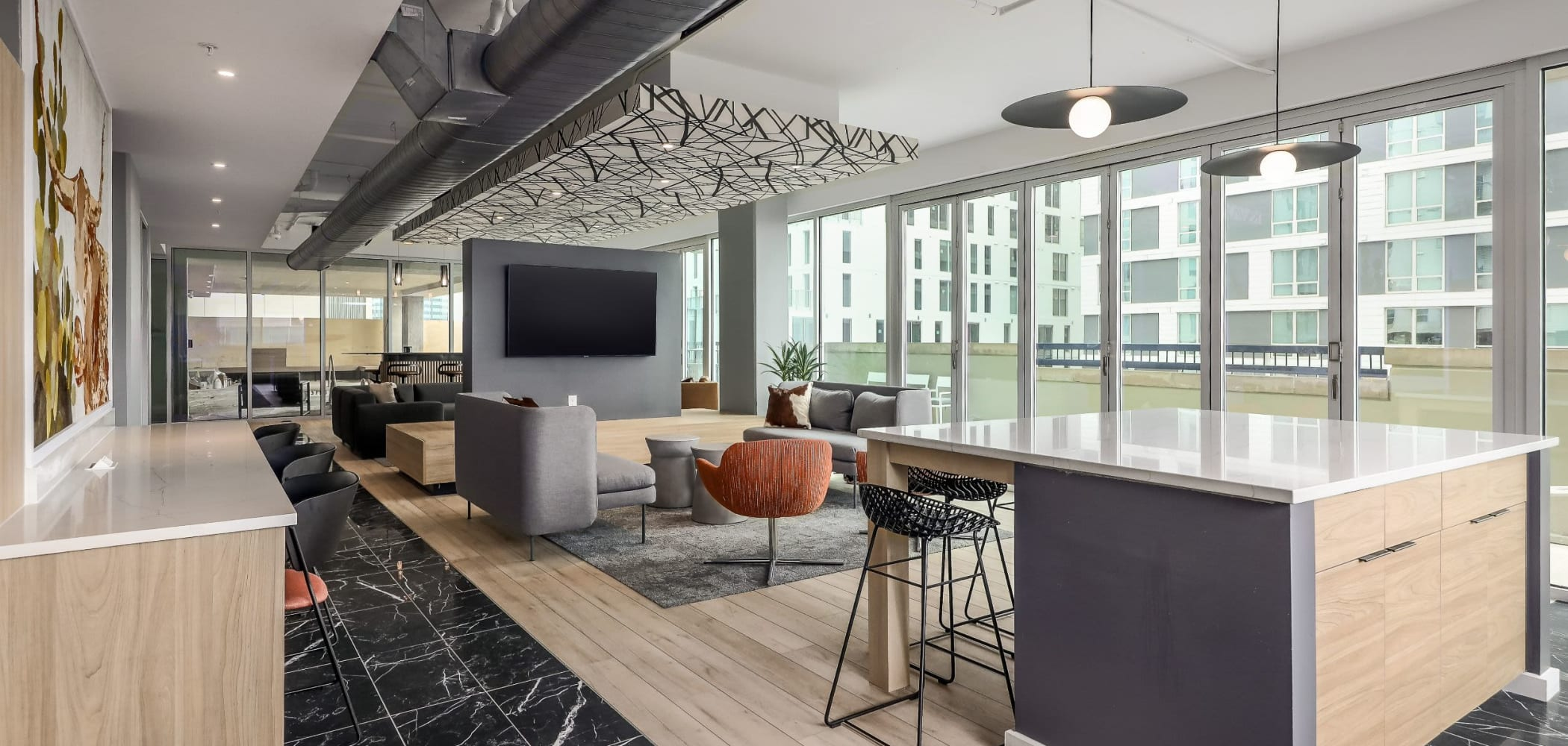 Spacious and modern clubhouse at 21 Rio in Austin, Texas