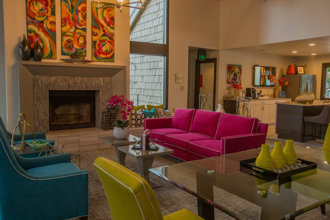 Lounge with a fireplace at The Courtyards in Tulsa, Oklahoma