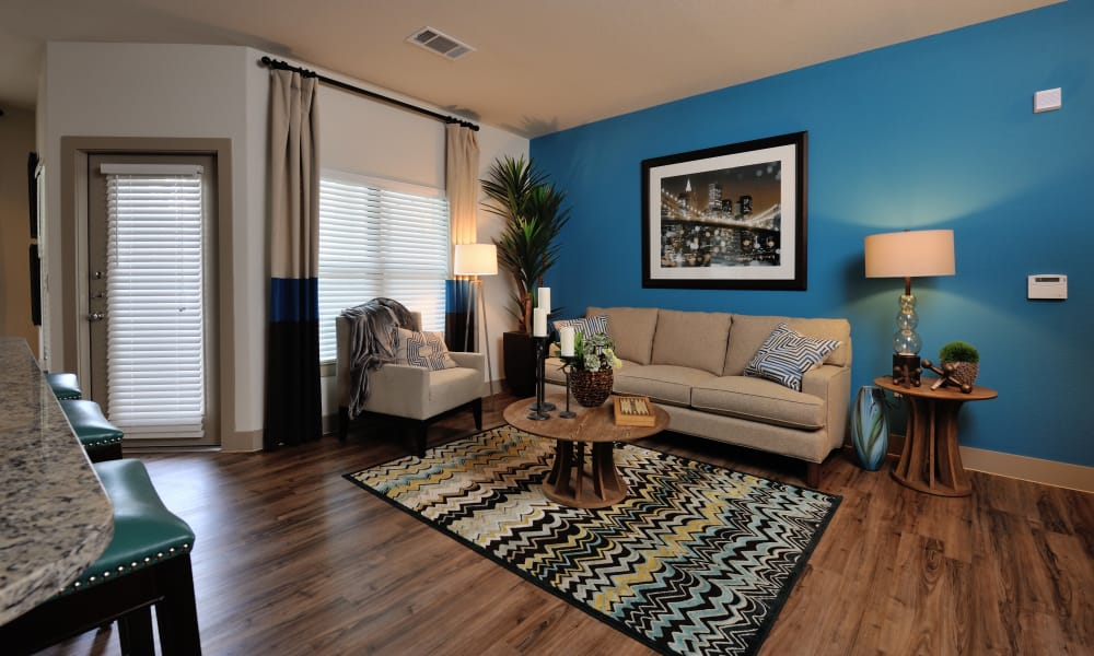 Naturally well-lit living room at Cordevalle Apartments in Round Rock, Texas