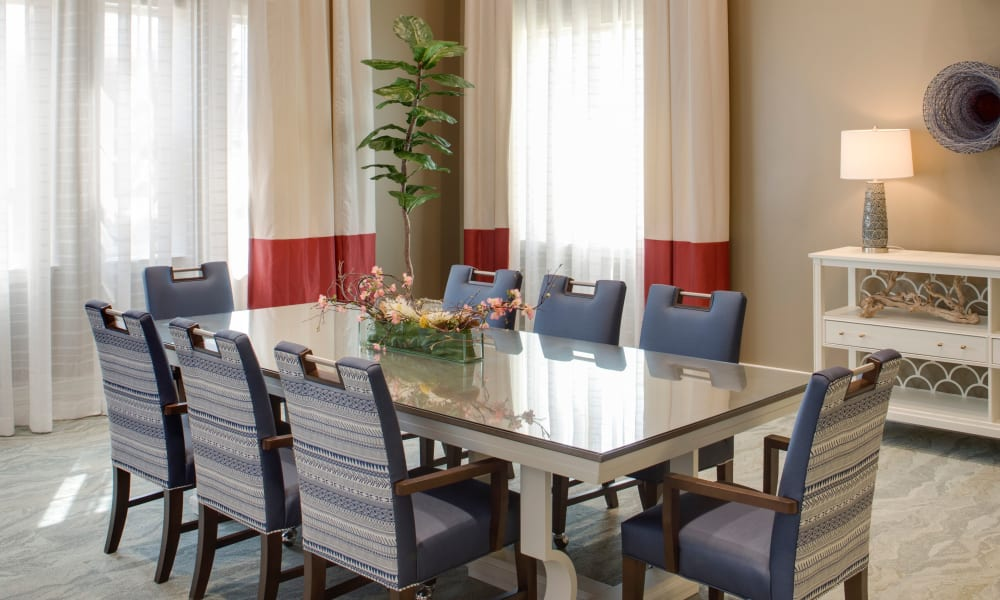 Formal dining room at Beach House Assisted Living & Memory Care at Wiregrass Ranch in Wesley Chapel, Florida