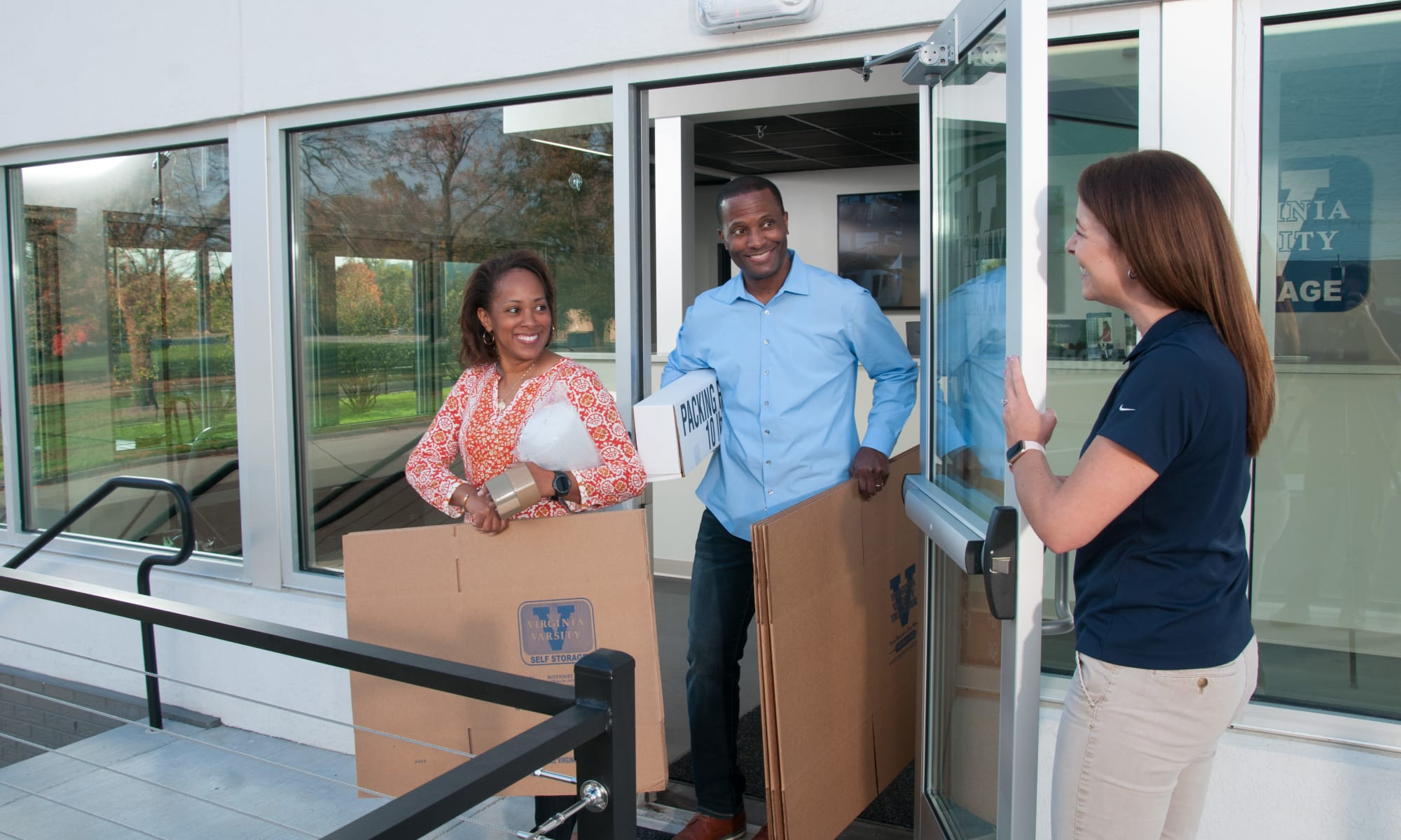 A couple buying storage boxes at Virginia Varsity Storage in Roanoke, Virginia