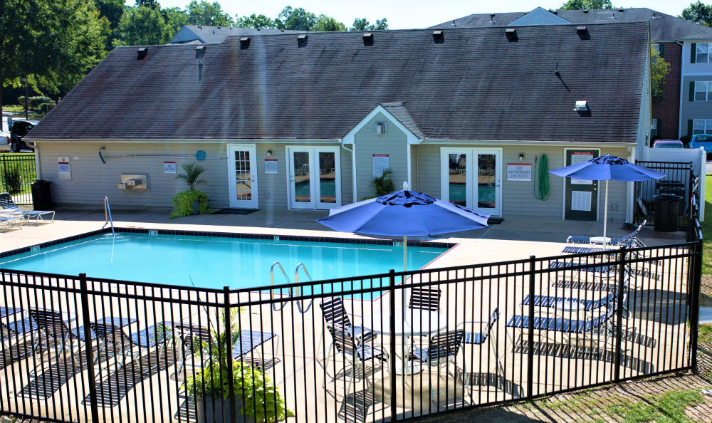 Resort-style swimming pool at England Run North Apartments apartments for rent in Fredericksburg, VA