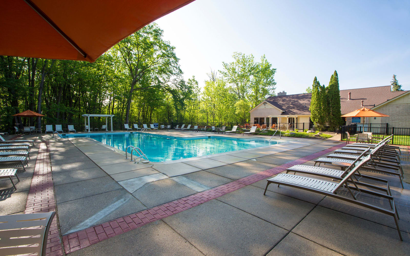 Swimming pool at Aldingbrooke in West Bloomfield, Michigan