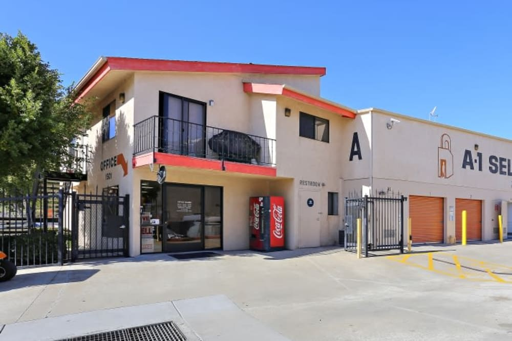 The front entrance to A-1 Self Storage in San Diego, California