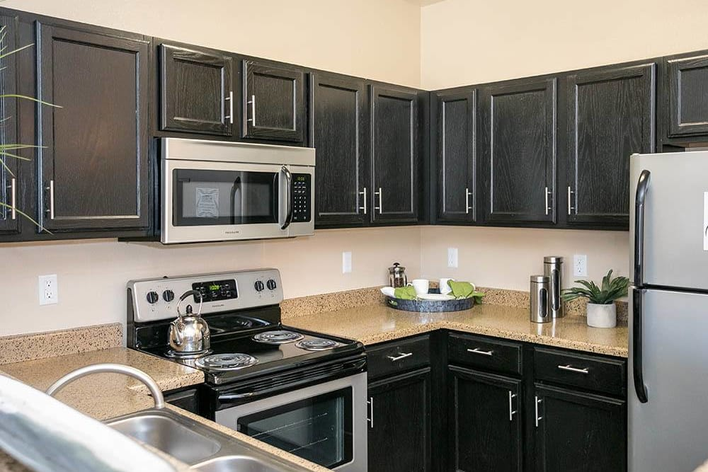 Modern kitchen at Westridge Apartments in Aurora, Colorado