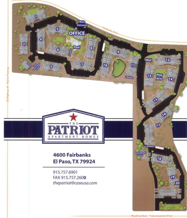 Site map for The Patriot Apartments in El Paso, Texas