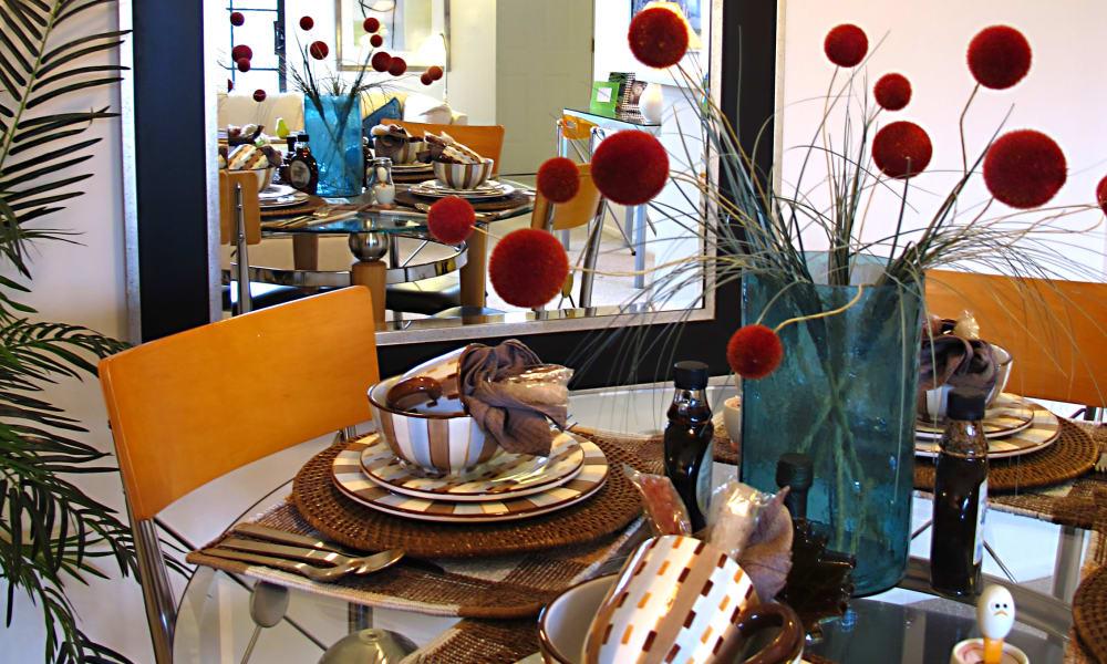 Beautiful dining table at Saddle Creek Apartments in Novi, Michigan