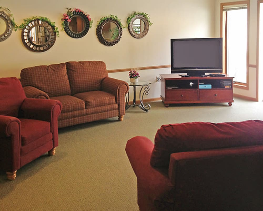Comfortable common TV room at Arbor View in Burlington, Wisconsin.