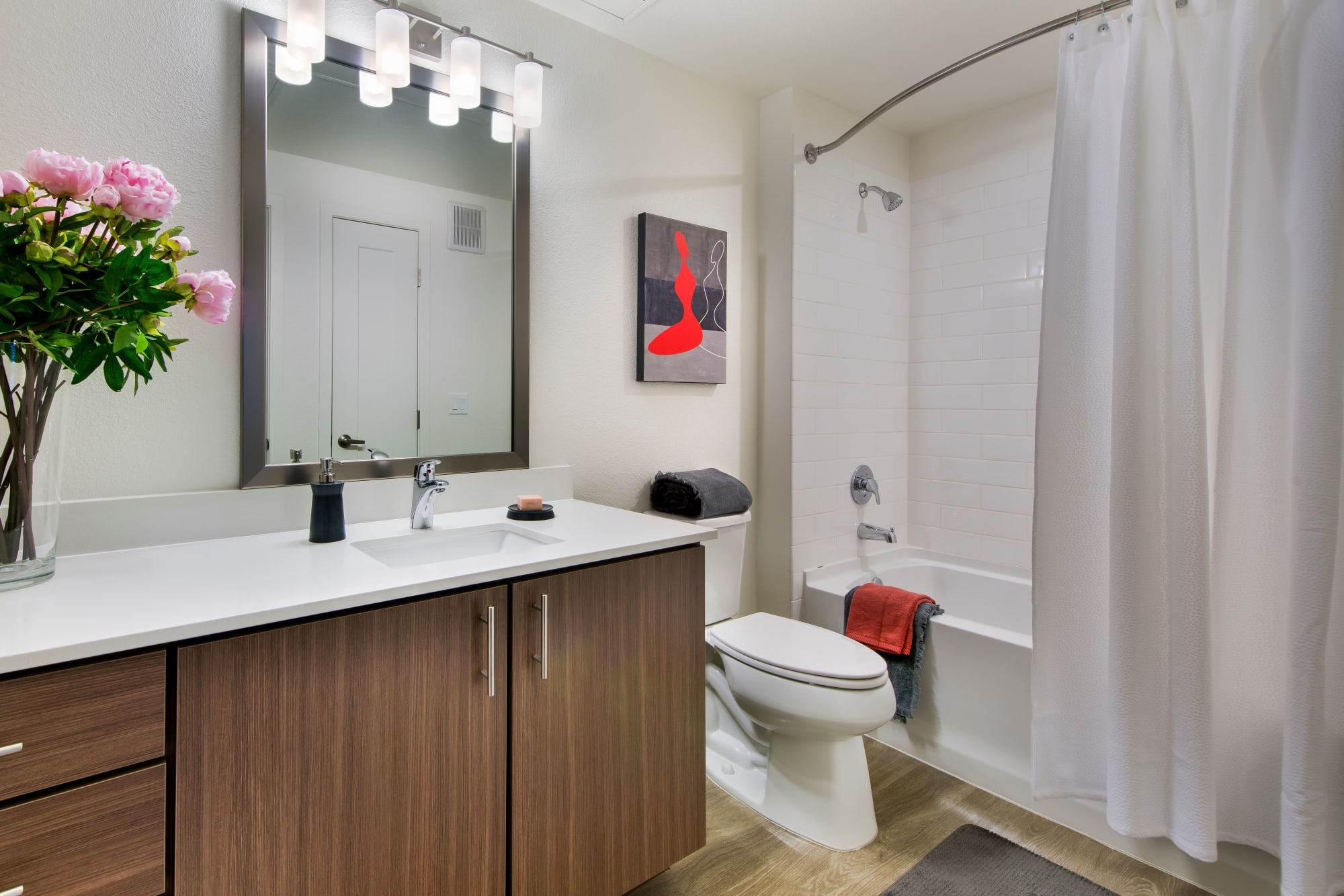 A spacious restroom at Elevate in Englewood, Colorado