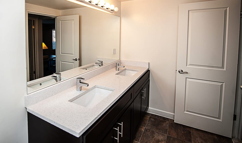 An example bathroom at Spice Tree Apartments in Ann Arbor, MI