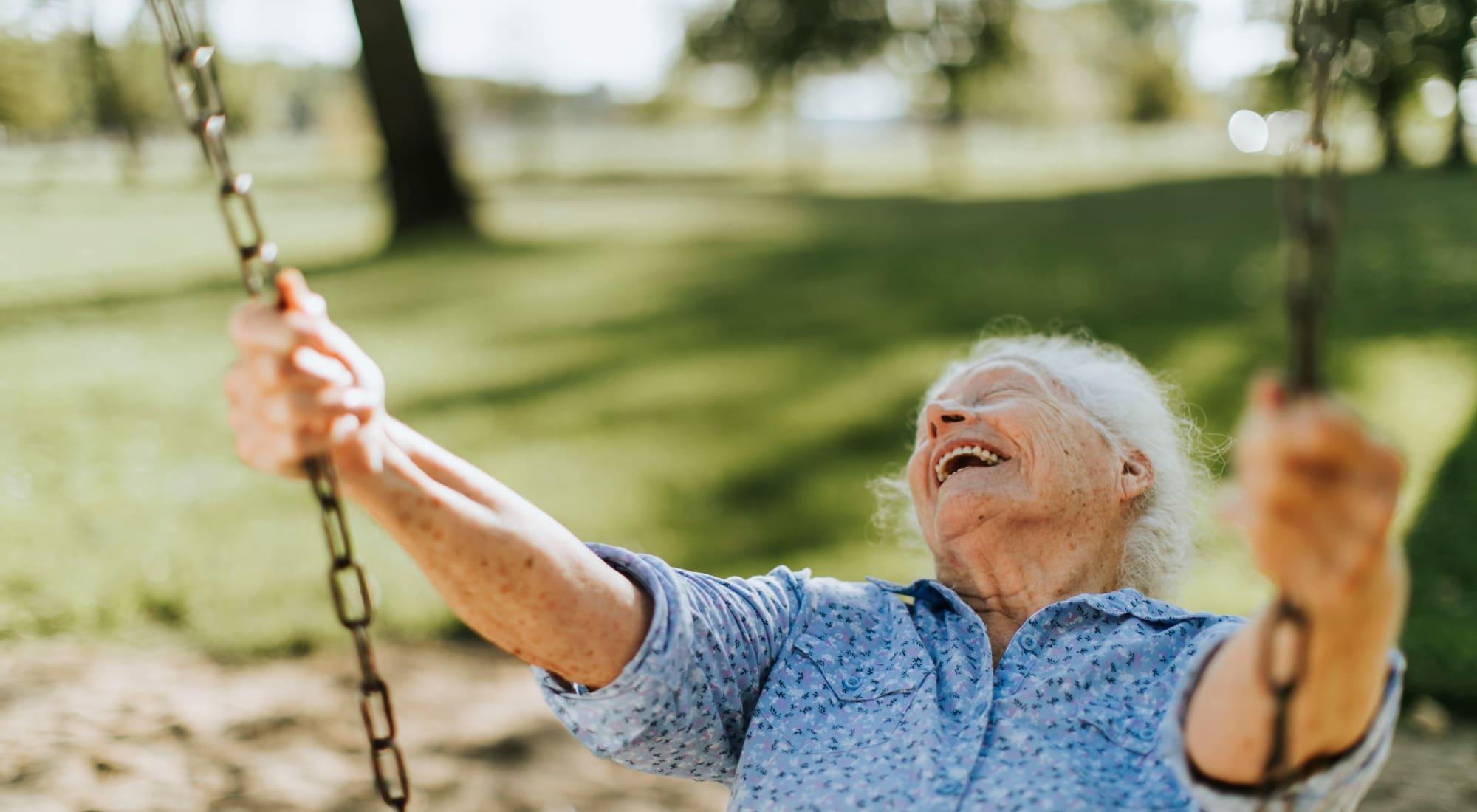 Happy resident at Blossom Vale Senior Living in Orangevale, California