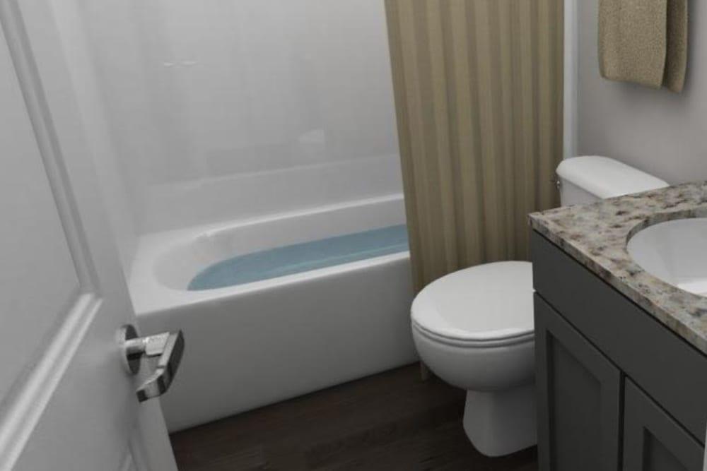 Clean bathroom at The Flatts Salisbury in Salisbury, Maryland