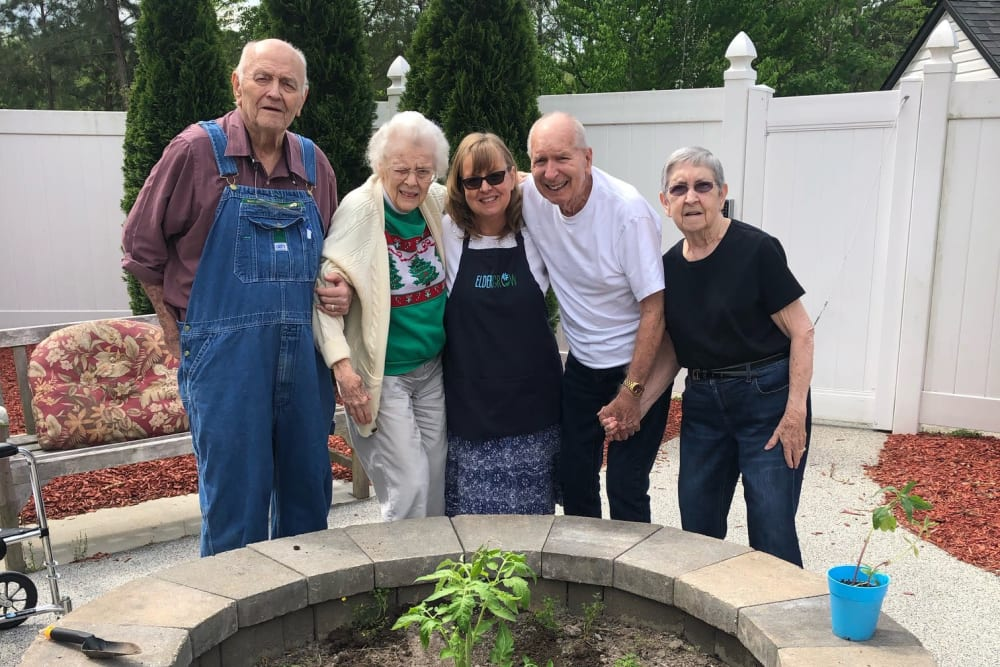 Happy residents gardening at Magnolias of Chesterfield in Chester, Virginia