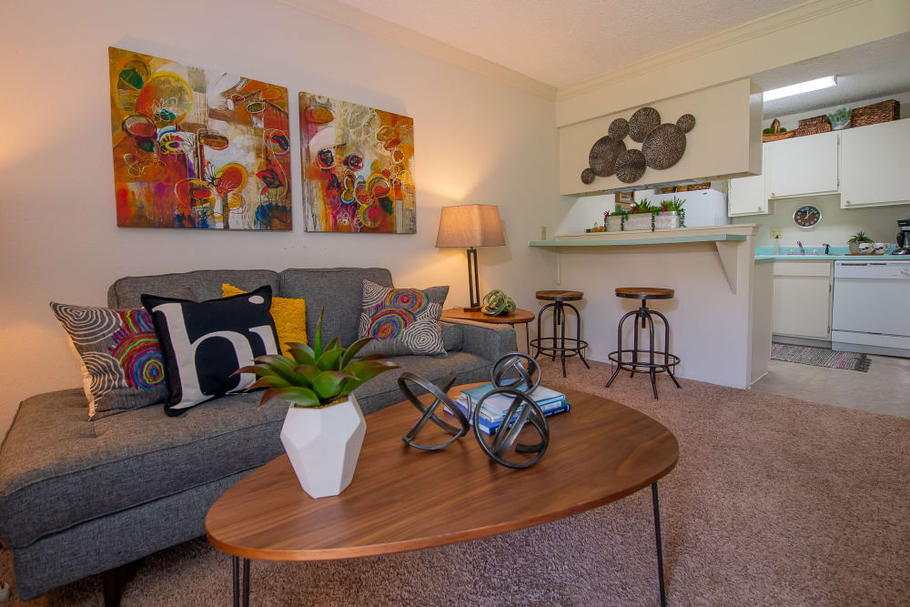 Bright living room at Summerfield Place Apartments in Oklahoma City, Oklahoma