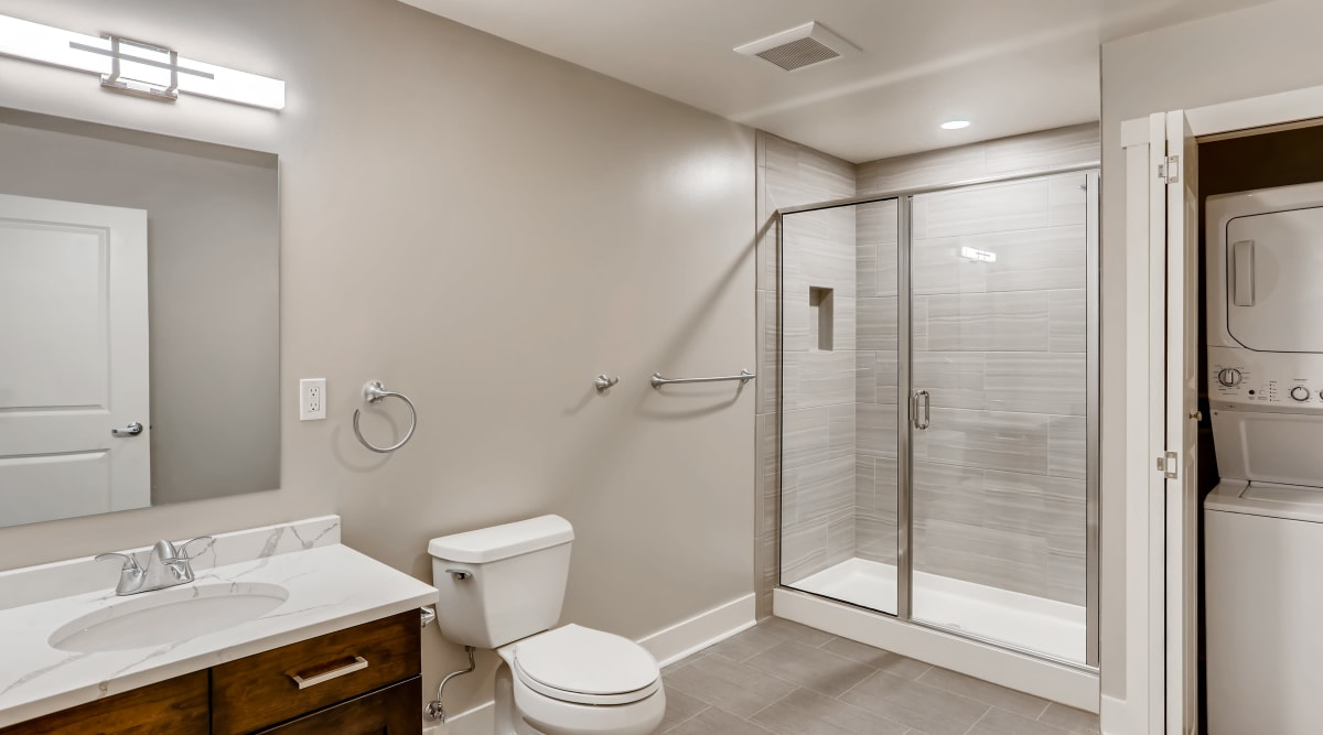 Large bathroom with a stand-up shower at The Mill at First Hill in Seattle, Washington