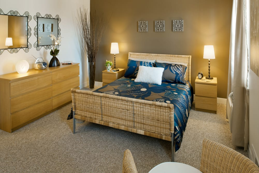 Beautiful model bedroom at Greenwoods in Brockton, Massachusetts