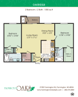 Printable floor plan image at Farmington Oaks Apartments in Farmington, Michigan