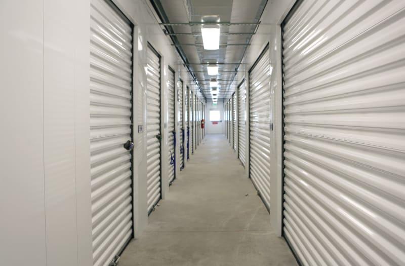 Storage units with yellow doors at Midgard Self Storage in Rock Hill, South Carolina