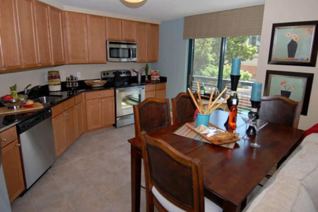 Model kitchen at Argent Apartments in Silver Spring, Maryland