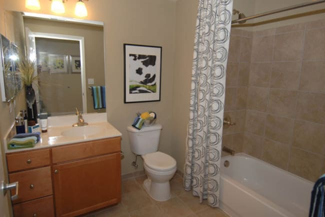 Model bathroom at Argent Apartments in Silver Spring, Maryland
