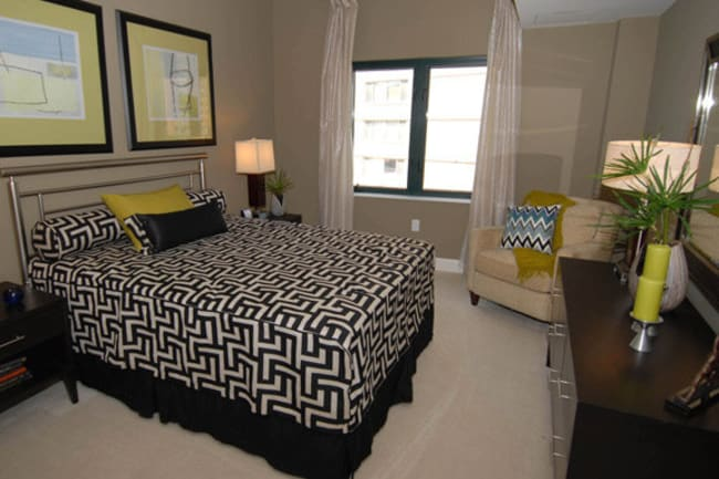 Model bedroom at Argent Apartments in Silver Spring, Maryland