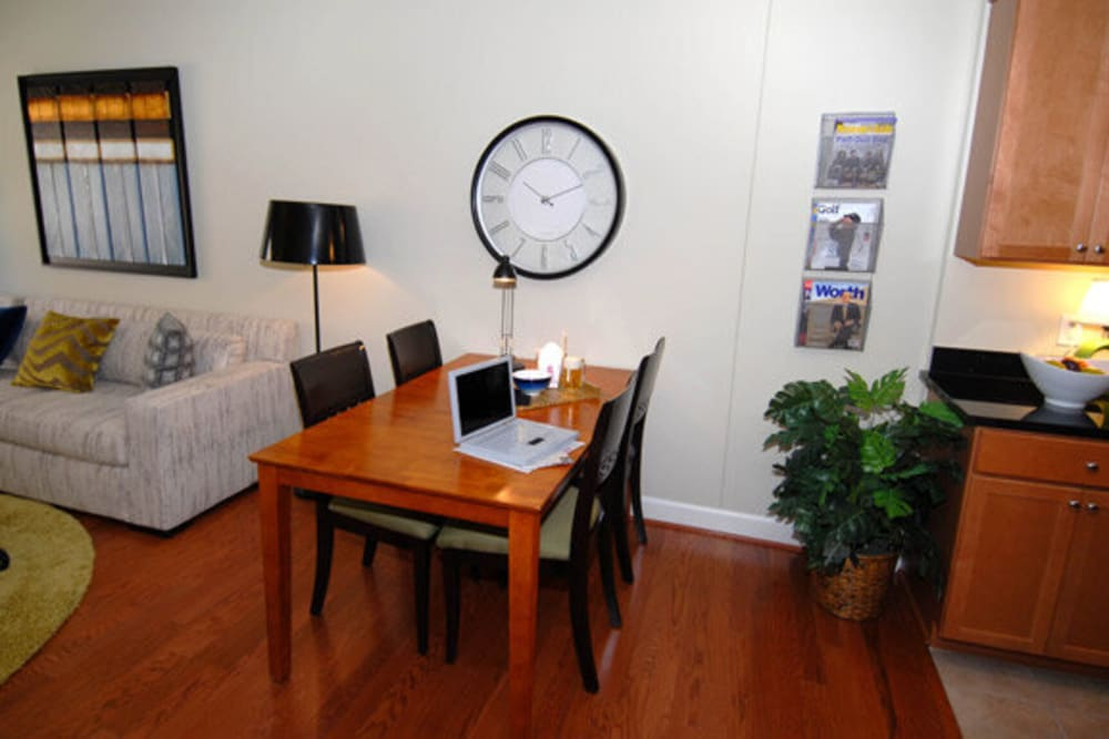 Model dining area at Argent Apartments in Silver Spring, Maryland