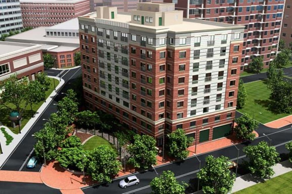 Aerial view of building at Argent Apartments in Silver Spring, Maryland