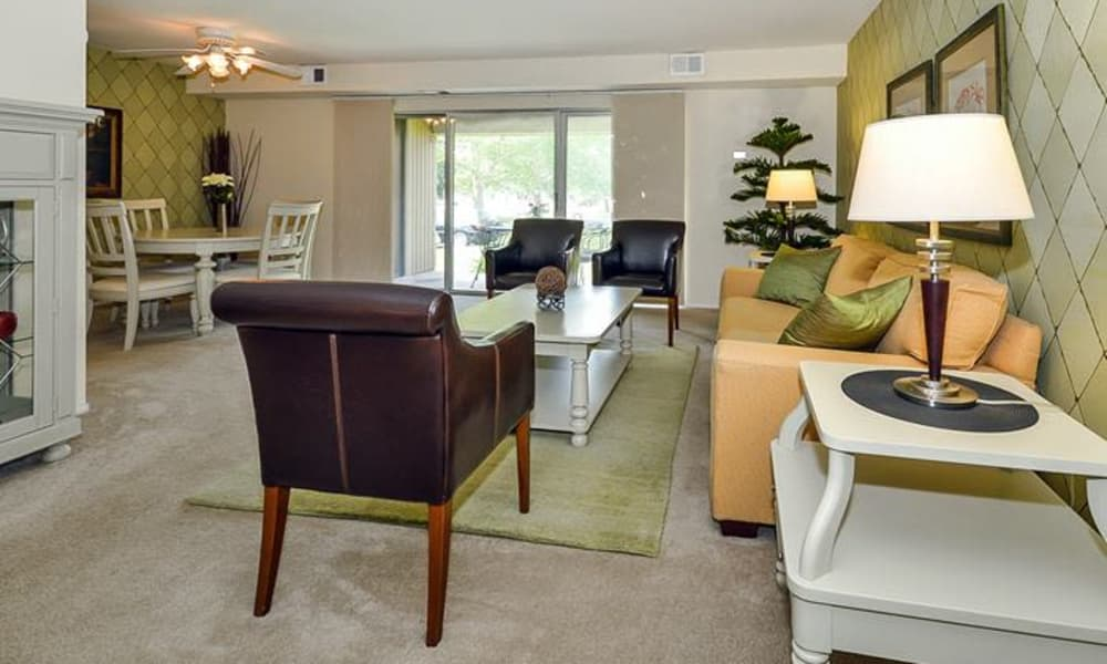 Model living room at Forge Gate Apartment Homes in Lansdale, PA