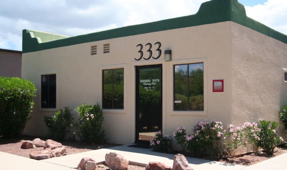 Office front at Sahuaro Vista Veterinary Clinic in Oro Valley