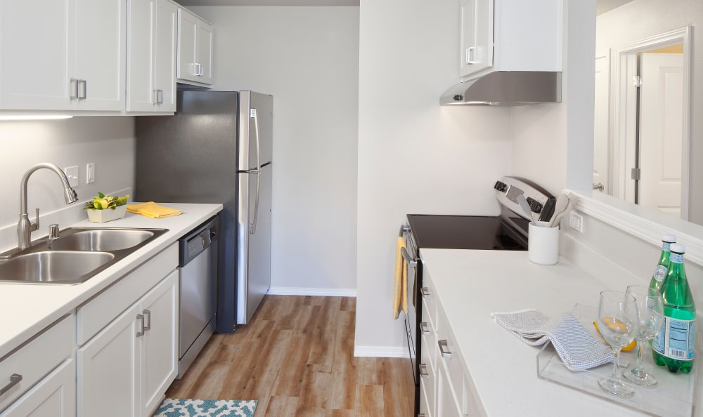 Fully equipped kitchen at Bridge Creek Apartments in Vancouver, Washington