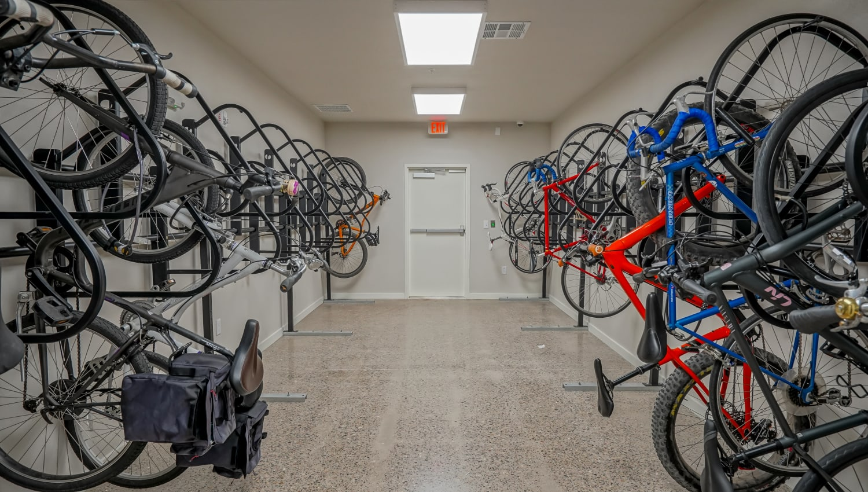 Bike storage at Capitol Flats in Santa Fe, New Mexico