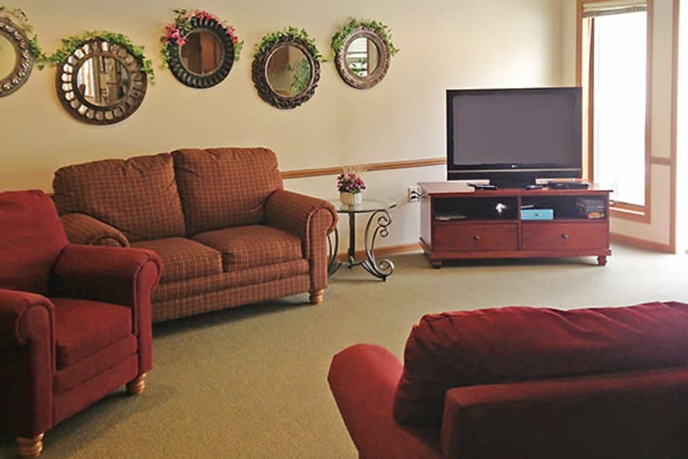 Comfortable TV sitting room at Arbor View in Burlington, Wisconsin.