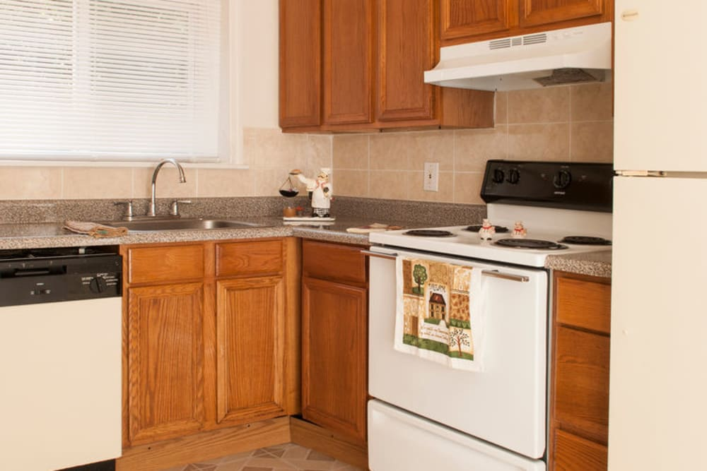 Kitchen model at Alpine Court East Apartments in Lindenwold, New Jersey