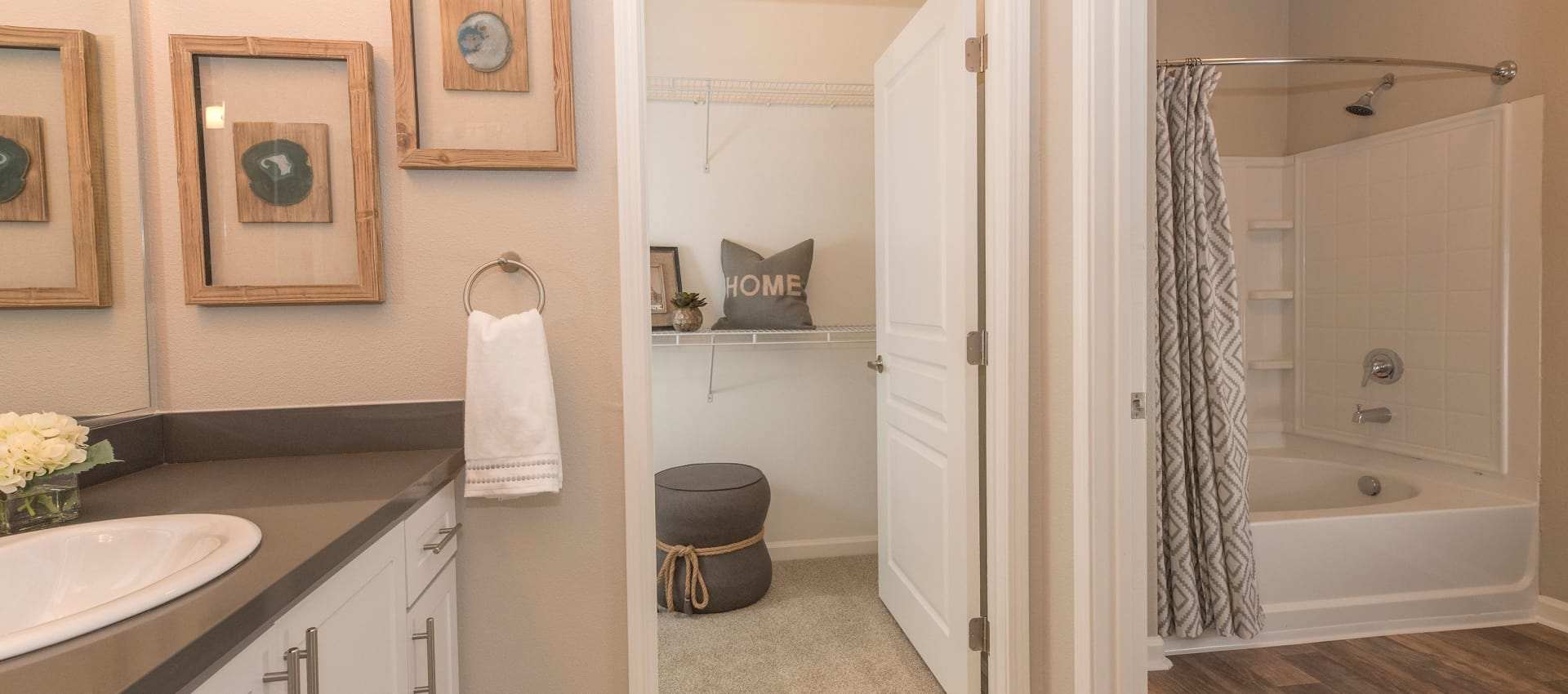 Enjoy apartments with a modern bathroom at The Artisan Apartment Homes in Sacramento, California