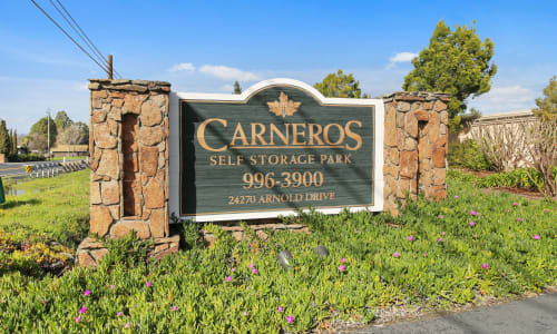 Storage Front sign at Carneros Self Storage Park in Sonoma, California