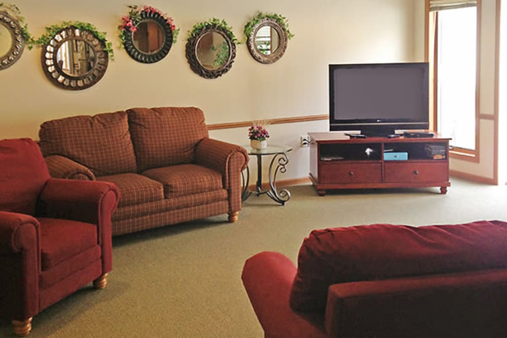 Residents can enjoy TV together in common room at Arbor View in Burlington, Wisconsin.