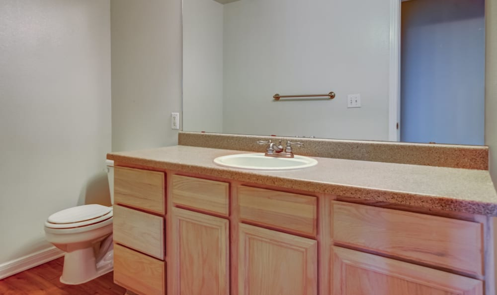 Clean bathroom at apartments in Austin, Texas