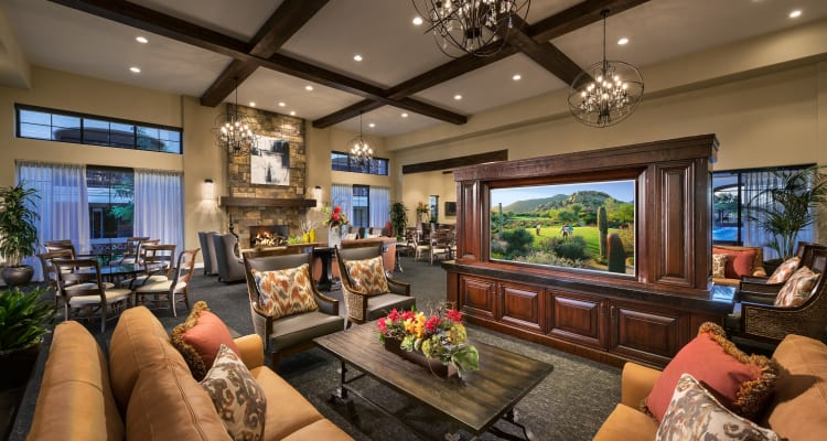 Beautifully decorated clubhouse at San Portales in Scottsdale, Arizona