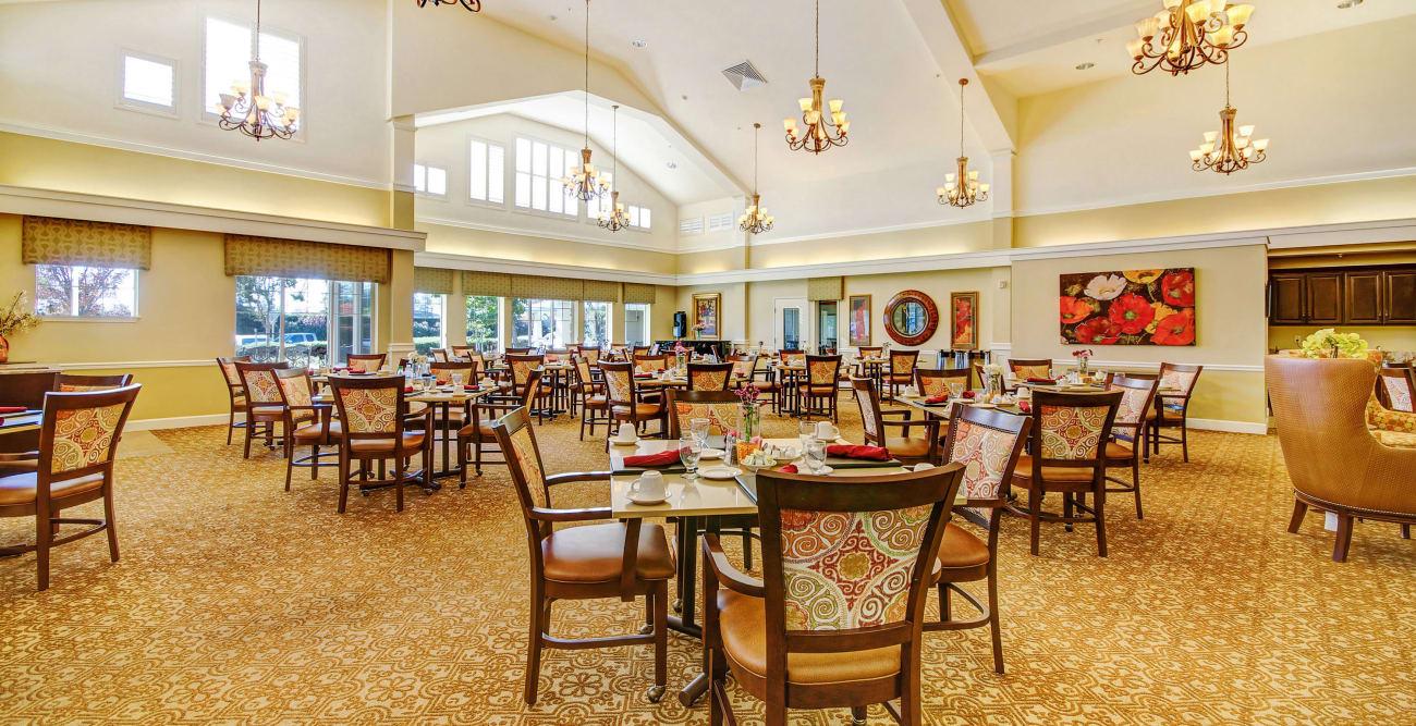 Dining area at senior living community in Manteca, California